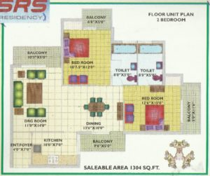 2BHK-1304 Floor Plan