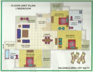 3BHK-1557 Floor Plan