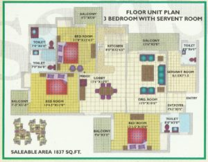 3BHK-1837 Floor Plan